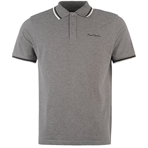 Pierre Cardin Tipped Herren Polo Shirt Kurzarm Tee Top Polohemd Poloshirt Charcoal Marl Medium (Langarm-top Enge Graue)