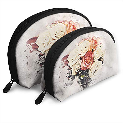 ff0b12f4924a Flowers Art Colors Abstract Design Beauty Shell Portable Bags Clutch Pouch  Cosmetic Makeup Bag Pouch 2Pcs