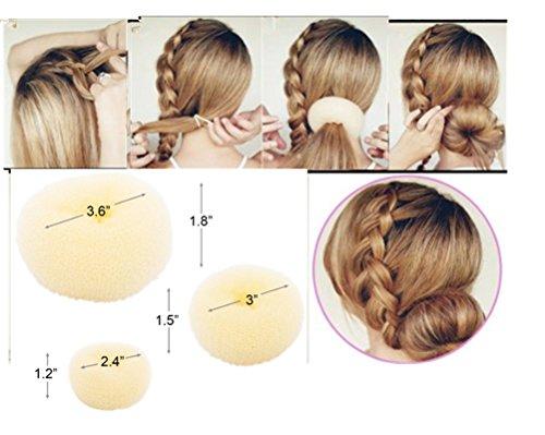 Cuhair(TM) Haardonut für Duttfrisuren, kleine, mittelgroße und große Größe, 3 Stück