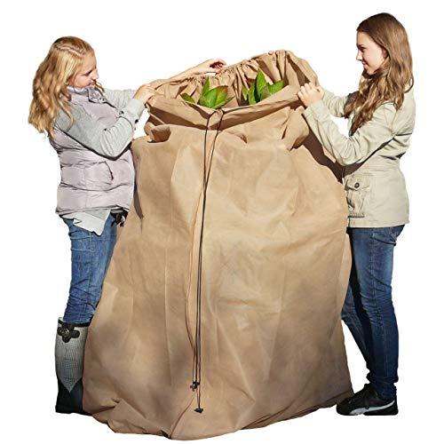 AFP Winterschutz-Vlies-Thermomantel XL, beige, Ø 120 x 250cm, 70g/qm - Mega-Schutzvlies für Olivenbäume, Palmen/Frostschutz Pflanzen/Reißverschluss & Kordel / 2 Jutesäckchen gratis