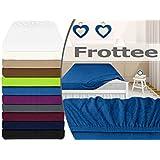 klassisches Frottee-Spannbetttuch - erhältlich in 10 modernen Farben und 3 verschiedenen Größen - Steghöhe von ca. 30-35 cm - passend für Standardmatratzen und Wasserbetten, 140-160 x 200 cm, royalblau