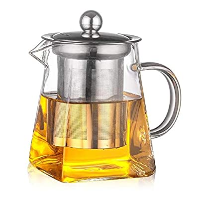 lliang Théières 350ml Glass Square Teapot High Temperature Resistant Loose Leaf Flower Tea Coffee Pot Stainless Steel Infuser Filter