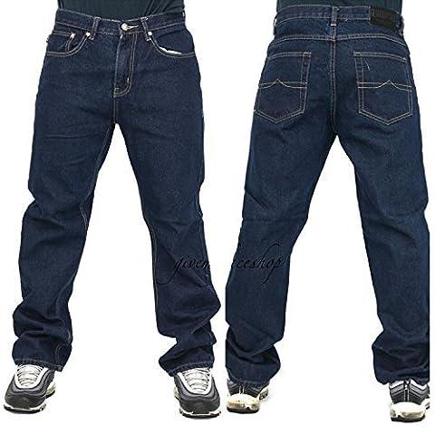 Peviani Mens Jeans, Indigo G Denim Pants, Straight, Loose Fit Hip Hop Star Wash (W 34