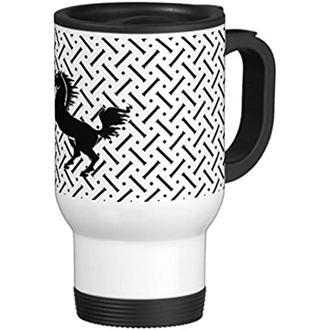 Hiekon cavallo, colore: nero/bianco a scacchi, Tazza da viaggio in acciaio INOX, 14G