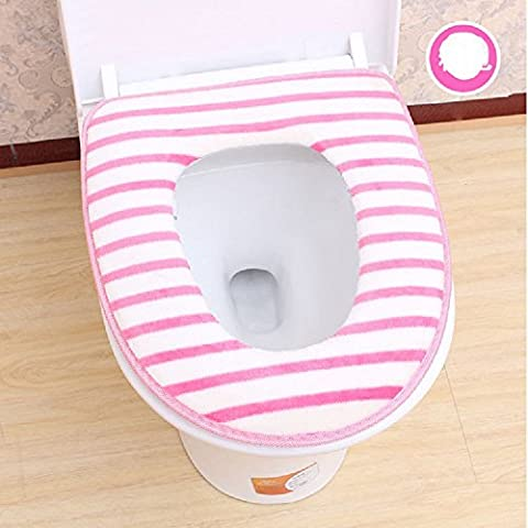 XJoel Comfy Toilet Seat Cover Soft Washable Sticky Toilet Seat Warmer Cushion Cover for Bathroom Pink 2 Pcs