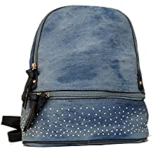 Piotrstrade - Bolso mochila  de Material Sintético para mujer azul azul vaquero Small