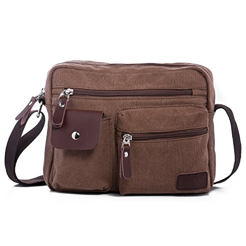 Hengwin Multi Pockets Medium Canvas Shoulder Cross Body Bag Messenger  Handbag for Men and Women Holiday Work Flight Trip Sports, fits for iPad,  ... 6e821440ed