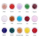 pandahall Elite - Lot de 1500pcs / Set 15 Couleurs Facettes Toupie Perles de Verre Transparent Grade AAA Sets, Couleurs Melangees, 4x3mm, Trou: 1mm; Environ 100pcs / Boite