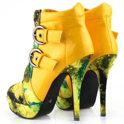 Show Story Punk Schnalle Nachthimmel High Heel Stiletto Plattform Stiefeletten,LF30301 Gelb