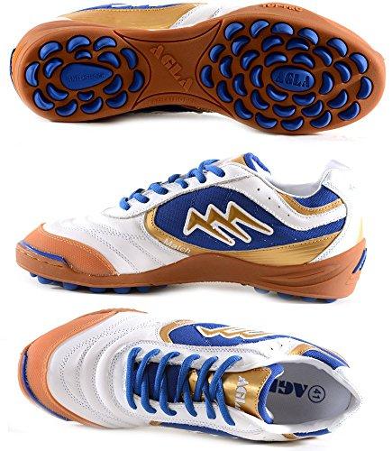 AGLA PROFESSIONAL NEW MATCH OUTDOOR scarpe calcetto futsal calcio a 5 anti-shock system (41 EUR, white/blue/gold)