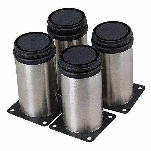 """douperLtd Set mit 4 verstellbaren Edelstahlmöbel Schrankfüße mit Montage Schrauben 2\"""" Durchmesser höhenverstellbar von 3,75\"""" 4,4\"""" im Set verkauft"""