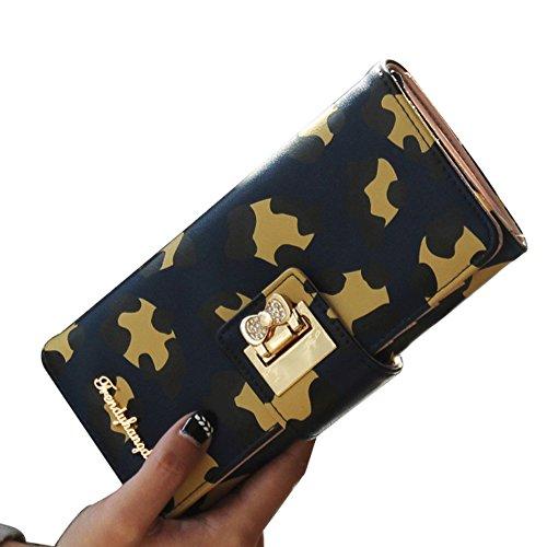 Uming® Colorful Fashion Variopinta moda PU delle donna della borsa borsa del portafoglio signora Clutch Wallet Purse borsetta Zipper Card Slots Pouch Handbag Bling Bow Closure  
