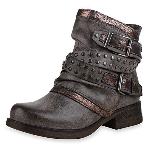 SCARPE VITA Damen Stiefeletten Biker Boots Leicht Gefütterte Schuhe Metallic 169170 Khaki 39