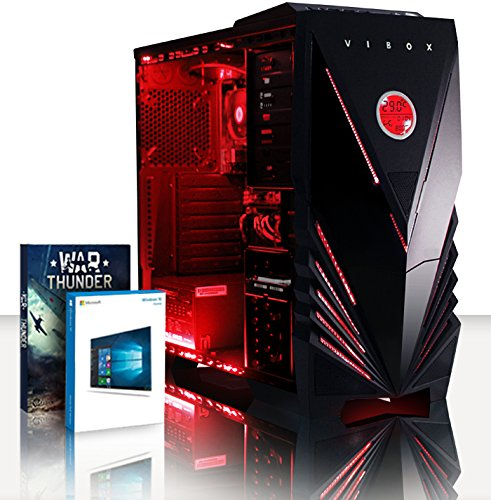VIBOX VBX PC 8508 Ultra 11 x SW Gaming PC de bureau (AMD A Series A8–7600, 16 Go de RAM, disque dur 2 To, AMD Radeon R7, Win 10 Home) Rouge