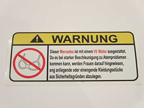 mercedes-v8-motor-german-lustig-no-bra-warnung-aufkleber-decal-sticker