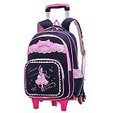 ZEVONDA Filles Enfants Trolley école Sac à dos Imperméable à Roues Roulante Amovible école Trolley Bag, Noir