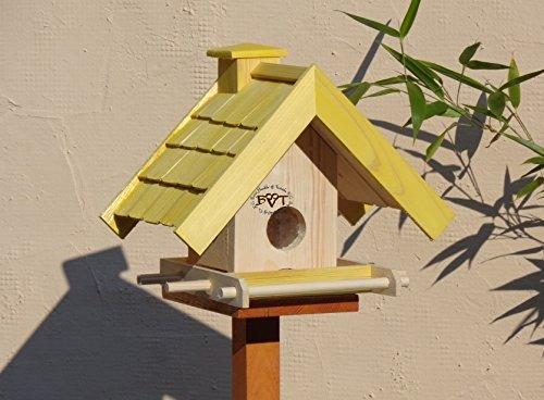 Vogelfutterhaus,BEL-X-VOWA3-gelb002 Großes Vogelhäuschen + 5 SITZSTANGEN, KOMPLETT mit Futtersilo + SICHTGLAS für Vorrat PREMIUM Vogelhaus – ideal zur WANDBESTIGUNG – vogelhäuschen, Futterhäuschen WETTERFEST, QUALITÄTS-SCHREINERARBEIT-aus 100% Vollholz, Holz Futterhaus für Vögel, MIT FUTTERSCHACHT Futtervorrat, Vogelfutter-Station Farbe gelb kräftig sonnengelb goldgelb, MIT TIEFEM WETTERSCHUTZ-DACH für trockenes Futter - 4