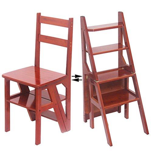 4-stufig Climb Ladder Haushalt Treppenstuhl Klappleiter Multifunktions Schritt Hocker (Farbe : Walnut Farbe) (Hocker-bar Bambus Natur)
