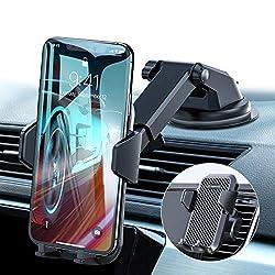 VANMASS Handyhalterung Auto Handyhalter fürs Auto 3 in 1 Kfz Handyhalterung Lüftung & Saugnapf Halter 100% Silikon Schutz Smartphone Halterung Auto für iPhone Samsung Huawei Mate LG (Upgrade Version)