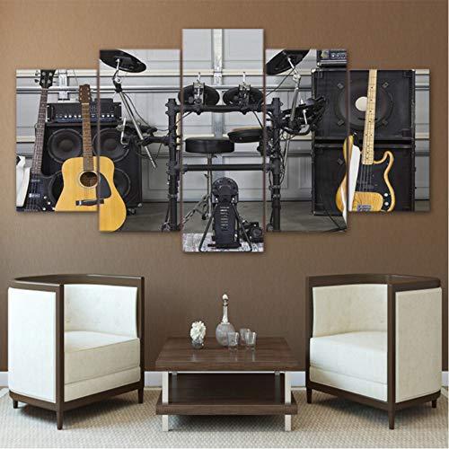 mmbj Moderne HD gedruckt Wandkunst Leinwand Bilder 5 Stücke Musikinstrument Gitarre Drum Akustik Gemälde Poster Wohnkultur 40x60cmx2 40x80cmx2 40x100cmx1