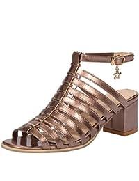 Coolcept Mujer Roma Hueco Correas Sandalias Tacon Ancho Peep Toe Zapatos