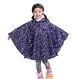 Riutilizzabile Poncho Impermeabile Bambini Incappucciati Pioggia Giacca Leggero Bambino per Unisex Stella blu/S