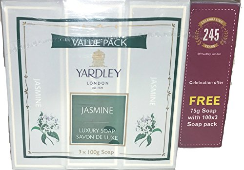 Yardley London Jasmine Soap Value Pack! 3 Bars And A Bonus English Lavender Mini Bar! Smells Great!  available at amazon for Rs.1724