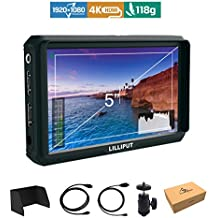 Lilliput A5 5 inch 1920x1080 HD 441ppi IPS Screen Camera Field Monitor 4K HDMI Input output Video for Canon Nikon Sony A7 A7R A7S III A9 DSLR Zhiyun Crane 2 M TILTA G2X DJI Ronin-S