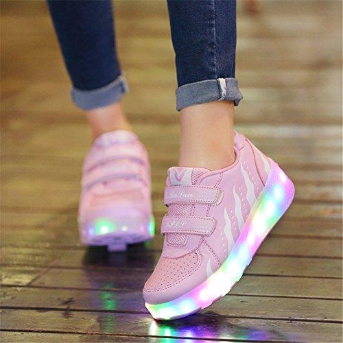 AIMOGE Lumineuses Chaussures à Roulettes Baskets Sneakers clignotante Patinage Fille Garçon Chaussures de Sport LED avec 3 Colorés Enfants Rose