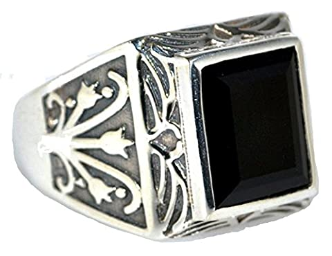 Mens Solid Sterling 925 Silver Black Onyx Gents Ring, Authentic