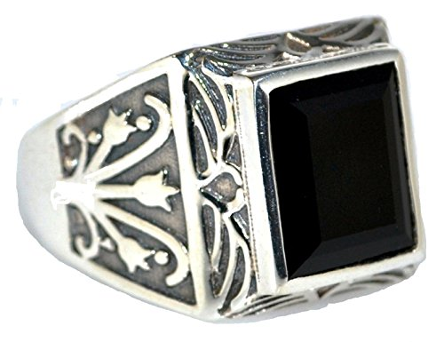 Avant Gems  -  925 Sterling-Silber  Sterling-Silber 925 Smaragdschliff   schwarz Onyx