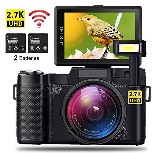 AMKOV CD-R2 - Digitalkamera Vlogging Kamera mit 2 Akkus, 2,7K Auflösung, 24MP 1080P WiFi Camcorder, 4X Digitalzoom, 3 Zoll Klappbildschirm, Einziehbares Blitzlicht