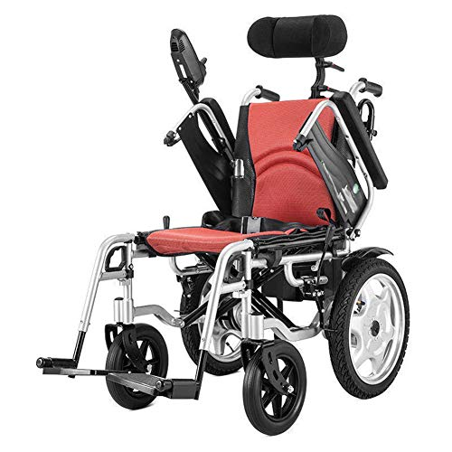 Elektrischer Rollstuhl Mit Hoher Rückenlehne Kopfstütze,elektrorollstuhl,faltbar Tragbare,toilettenstuhl Fahrbar Auf Rollen,sitzbreite 44cm,für ältere und behinderte Menschen,Lithiumbatterie (Hohe Rollstuhl)