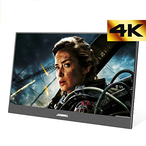 JOHNWILL 4K Portable Monitor 15,6 Zoll tragbarer Monitor FHD 3840 x 2160 IPS-LCD-Monitor mit HDMI-Eingang, eingebautem Lautsprecher, Gaming-Monitor Unterstützung PS3/PS4/XBOX Fhd Lcd