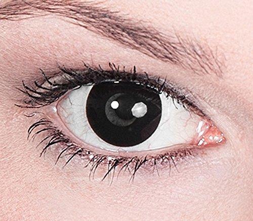 """Preisvergleich Produktbild 1 Paar Farbige Kontaktlinsen Schwarz """"Black Witch"""" Tageslinsen ohne Stärke"""