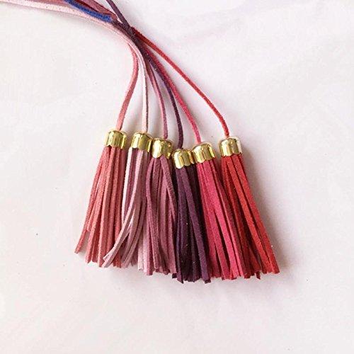 Gazechimp Leder Quaste Anhänger Quaste mit Kappe für Schlüsselanhänger Kettenriemen DIY Zubehör - Rose Rot (Leder-quaste)