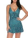 Lucyme Badeanzug Monokini Bademode Tankini mit Boxershorts Beachwear für Damen Ohne bügelX-Large Dunkelgrün