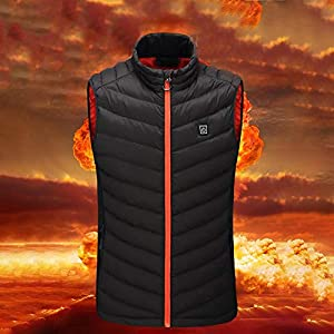 Bloomma Heated Vest, USB Charging Electric Winter Vest Stand Collar Heating Cotton Thermal Vest for Skiing Hiking Motorcycle Travel Fishing Golf