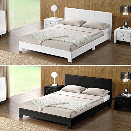DI-LIFESTYLE Ohios Doppelbett Schwarz Oder Weiß Polsterbett Bett Lattenrost Kunstleder (Weiß, 140 x 200 cm)