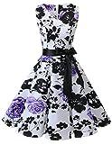 Bridesmay Vestido Corto Mujer Escote En Pico Sin Mangas Retro Vintage White Purple Flower L