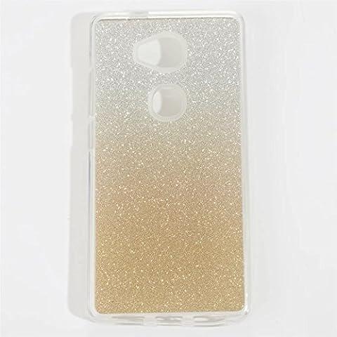MUTOUREN für Huawei Honor 5X Transparent TPU Silikon Gradient Farbe Bling Glitzern Schutz Handy Hülle Case [Kratzfeste, Scratch-Resistant] Hülle Schutzhülle Crystal Kirstall Durchsichtig Fall-Abdeckung Etui TPU Bumper Schale - Gold