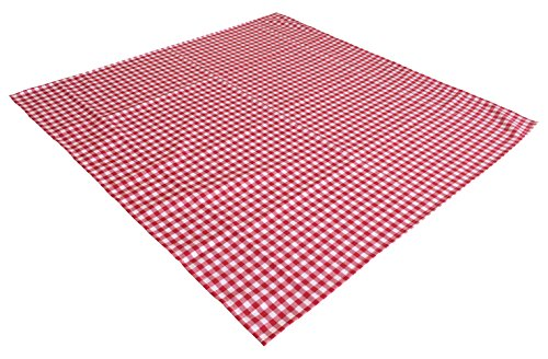 AKOR Textil Tischdecke Züchenkaro im Landhausstil (130 x 170 cm, weiß-rot)