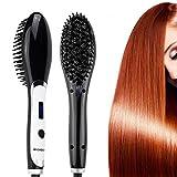 BROADCARE Brosse Lissante Chauffante Brosse Lisseur cheveux Anti-Statique Peigne Brosses à cheveux électrique avec LCD écran (Fiche UE)