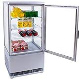 ZORRO SC 70 - Kühlvitrine silber Kuchenvitrine Gastro - 70 Liter - R600A - 4-Seitig Doppelverglast