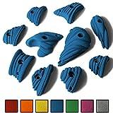 ALPIDEX 10 S - L Klettergriffe im Set verschieden ausgeformte Henkel und Leisten mit Charakter in vielen Farben, tolle Strukturen, die vielfältigen Kletterspaß in allen Schwierigkeitsgraden bieten, Farbe:Balance Blue