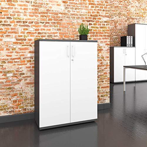 WeberbÜro armadio per archiviazione profi chiudibile a chiave 3oh bianco antracite armadio per ufficio armadio a battente con porta a battente