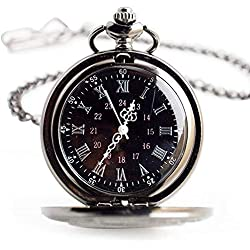 Flyproshop Pocket Watches Quartz Pocket Watch Classic Vintage Roman Numerals Pocket Watch Black Personalized Small Cool Stainless Steel Pocket Watch with Accessories Two Chains Case for Kids Men Women