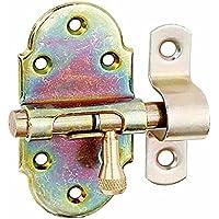 GAH-Alberts 128944 Grendelriegel mit Messing-Knopf, galvanisch gelb verzinkt, Platte: 40 x 75 mm, Bolzen: Ø9 mm