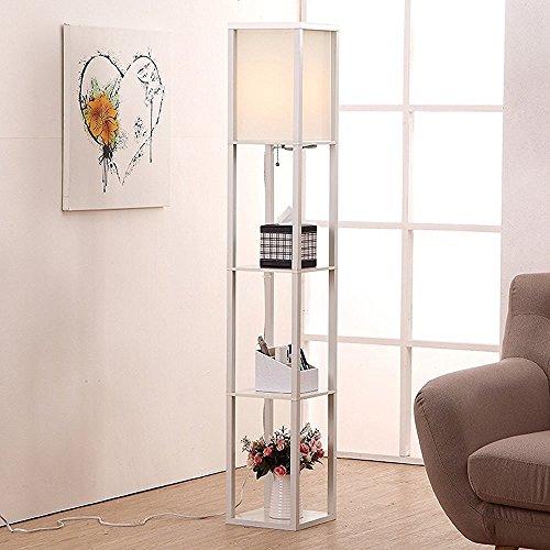 Innenbeleuchtung 1.6m Holz Stehleuchte mit Regalen für Schlafzimmer & Wohnzimmer (ohne Leuchtmittel) White