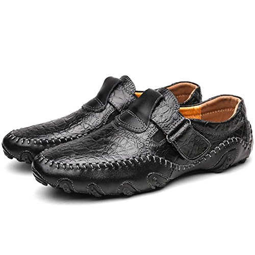 Odema Hommes Leather Slip-On Comfort Soft Flats Mocassins Souliers Casual 8899noir